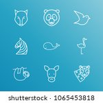 animal icon set and leopard...