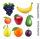 fresh fruits set. 3d realistic... | Shutterstock .eps vector #1065459842