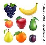 fresh fruits set. 3d realistic... | Shutterstock .eps vector #1065459842