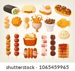 set of fresh delicious fast... | Shutterstock .eps vector #1065459965