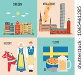 sweden set with traditional... | Shutterstock .eps vector #1065461285