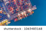 container ship in export and... | Shutterstock . vector #1065485168