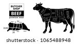 cut of beef set. poster butcher ... | Shutterstock .eps vector #1065488948