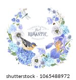 vector botanical wreath with... | Shutterstock .eps vector #1065488972
