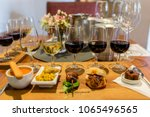 food and wine pairing | Shutterstock . vector #1065496565