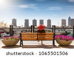 traveller woman sits at a bench ... | Shutterstock . vector #1065501506
