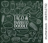 taco byrrito mexican food... | Shutterstock .eps vector #1065512732