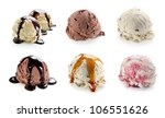 Stock photo ice cream scoop collage with vanilla chocolate and berry scoops and topping 106551626