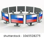 computers with flags showing... | Shutterstock . vector #1065528275