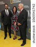 Small photo of New York, NY - April 9, 2018: Tim Pastore, Courteney Monroe, Gary Knell attend National Geographic presents America Inside Out with Katie Couric at Museum of Modern Art