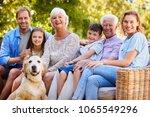 three generation family sitting ... | Shutterstock . vector #1065549296