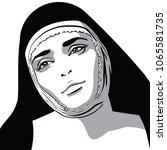 beautiful nun woman portrait....   Shutterstock .eps vector #1065581735