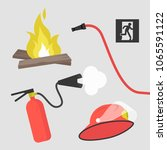 fireman kit  helmet  hose pipe  ...   Shutterstock .eps vector #1065591122