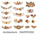 brown and ochre vector floral... | Shutterstock .eps vector #1065592202