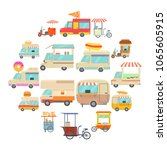 street food vehicles icons set. ... | Shutterstock .eps vector #1065605915