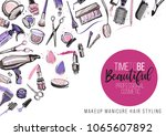 beauty salon  manicure  makeup  ... | Shutterstock .eps vector #1065607892