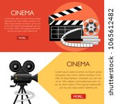 retro movie clapboard and... | Shutterstock .eps vector #1065612482