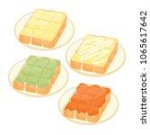 sugar toast  kaya toast and... | Shutterstock .eps vector #1065617642