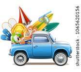 vector pickup truck with beach... | Shutterstock .eps vector #1065620156