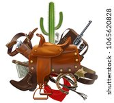 vector cowboy concept with... | Shutterstock .eps vector #1065620828