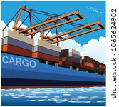 loading of containers by port... | Shutterstock .eps vector #1065624902