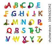 kids cute alphabet with...   Shutterstock .eps vector #1065632342