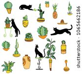 Stock vector set of mexican style illustration different cactuses sombrero pineapple maraca vases with 1065662186