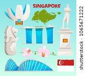 landmarks icons set of... | Shutterstock .eps vector #1065671222