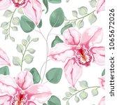 watercolor baby blue eucalyptus ... | Shutterstock .eps vector #1065672026