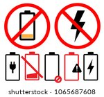 empty battery icon symbol set... | Shutterstock .eps vector #1065687608