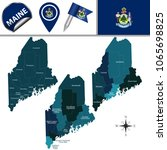 Vector Map Of Maine With Named...