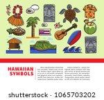 hawaii travel welcome poster of ... | Shutterstock .eps vector #1065703202