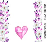 floral frame with hand painted... | Shutterstock . vector #1065709505