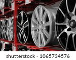 stand with alloy wheels in... | Shutterstock . vector #1065734576
