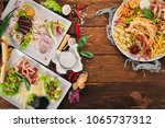 set cold appetizers. bacon ... | Shutterstock . vector #1065737312