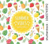 summer tropical pattern | Shutterstock .eps vector #1065745592