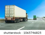 truck on highway road with... | Shutterstock . vector #1065746825