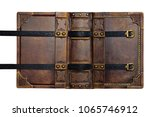 opened aged brown leather cover ... | Shutterstock . vector #1065746912