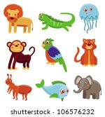 cute cartoon animals   vector... | Shutterstock .eps vector #106576232