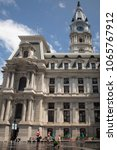 Small photo of Philadelphia, Pennsylvania, USA – August 2, 2016: Vertical shot of the Town Hall façade at Dilworth Sq, Philadelphia, Pennsylvania