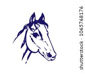 hand drawn sketch of horse head.... | Shutterstock .eps vector #1065768176