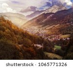 settlement in the mountains | Shutterstock . vector #1065771326