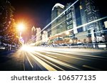 fast moving cars at night | Shutterstock . vector #106577135