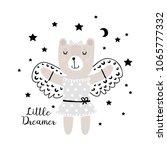 cute little bear dreams of... | Shutterstock .eps vector #1065777332