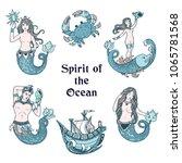 ink sketch of the marine fairy.... | Shutterstock .eps vector #1065781568