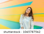 young beautiful caucasian woman ... | Shutterstock . vector #1065787562