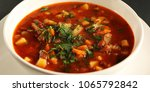 tomato soup with red beans ... | Shutterstock . vector #1065792842