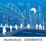 monorail bridge across the... | Shutterstock .eps vector #1065804476