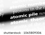 Small photo of atomic pile word in a dictionary. atomic pile concept.