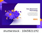 isometric blockchain concept... | Shutterstock .eps vector #1065821192